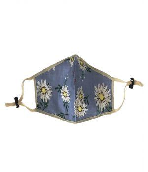 Blauw mondkapje met bloemenprint