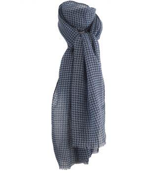 Luchtige lichtblauwe wollen mousseline sjaal met ornament print