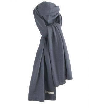 Kasjmier-blend sjaal in jeansblauw