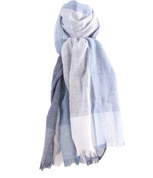 Katoenen sjaal met ruiten in blauw-tinten