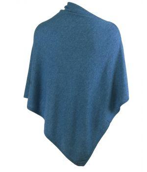 Kasjmier-blend poncho in middenblauw