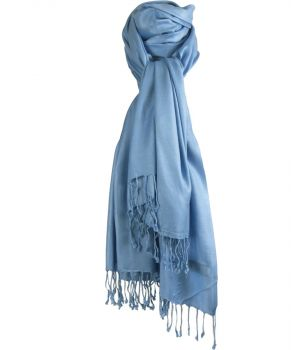 Jeansblauwe pashmina sjaal