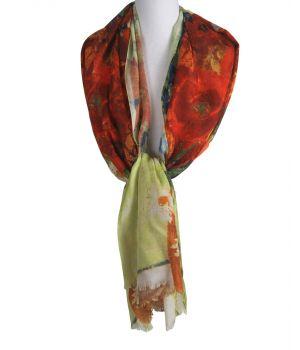 Sjaal met een bloemenvaas schildering