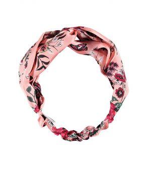 Lichtroze haarband met bloemenprint