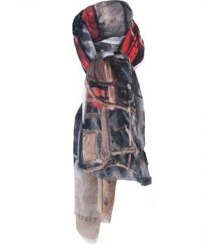 Wol-blend sjaal met print van '' brasserie de Paris''