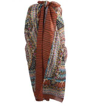 Roest-bruine sarong met ornament- en bloemenprint