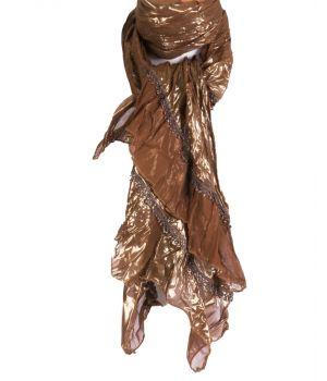 Sjaal in cognac en goud