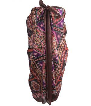 Donkerbruine sarong met mozaïek print in paars