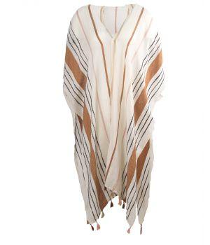 Kimono in ecru met geweven strepen
