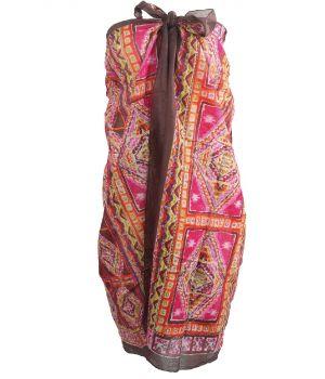 Donkerbruine sarong met mozaïek print