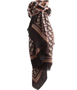 Sjaal met grafisch design in cognac-bruin