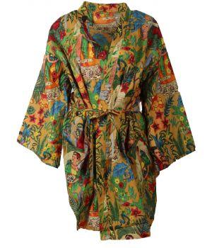 Korte camelkleurige katoenen kimono met Frida Kahlo print