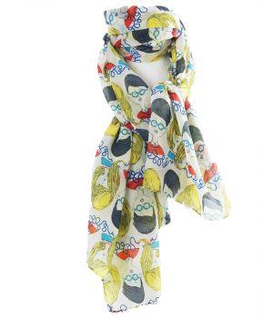 Soepelvallende sjaal met cartoons print