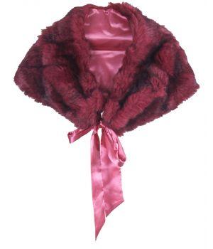 Cerise-roze met zwart gemêleerde imitatie bontstola