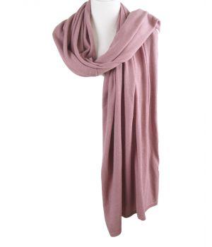 Kasjmier-blend sjaal/omslagdoek in donker-oudroze
