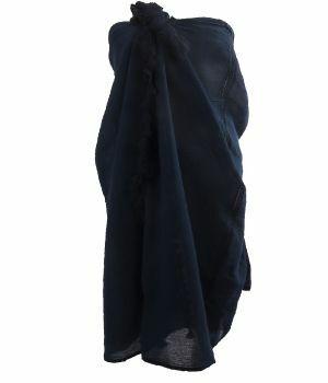 Katoenen sarong in donkerblauw met kwasten franje