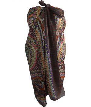 Donkerbruine sarong met ornament- en bloemenprint