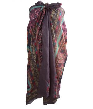 Donkergrijze katoenen sarong met Azteken print