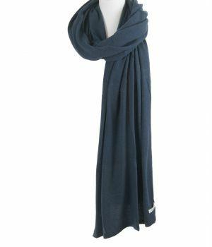 Kasjmier-blend sjaal/omslagdoek in donker-jeansblauw