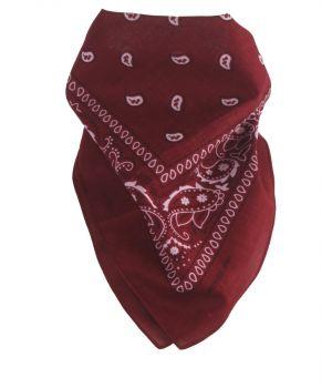 Donkerrode bandana / boerenzakdoek met klassiek motief