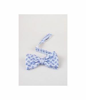 Blauwe zijden Profuomo strik met donkerblauwe klassieke paisley