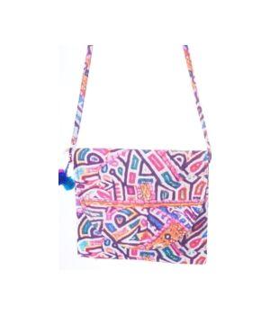 Boho tasje van textiel met Ibiza kleuren print + pompoms