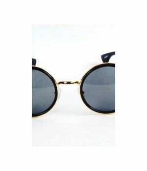 Zwarte trendy  hippie zonnebril goudkleurig frame