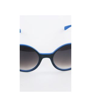 Hippe kobaltblauwe ronde retro zonnebril