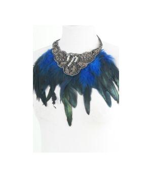Kraagketting met cobalt kleurige veren