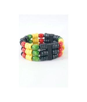 Houtenkralen armband in zwart, geel en groen