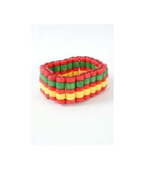 Houtenkralen armband in geel, groen en rood