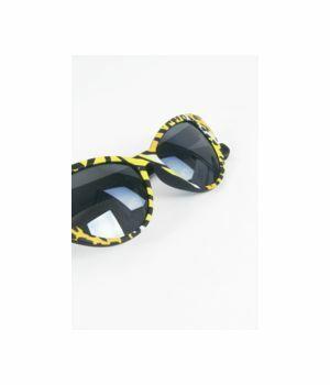 Cat Eye zonnebril met gele luipaard frame