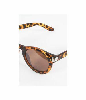 Ronde retro zonnebril met luipaard print