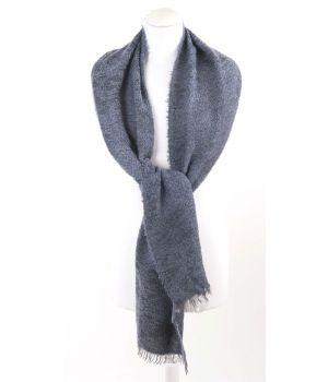 Grijze bouclé sjaal met geweven paisley patroon