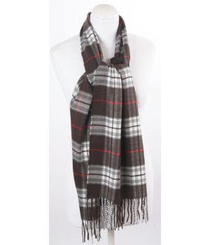 Donkerbruine ultra zachte sjaal met ruiten
