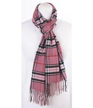 Donker-oudroze ultra zachte sjaal met ruiten
