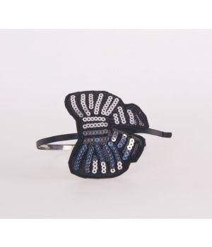 Zwarte skinny diadeem met zilverkleurige pailletten-vlinder