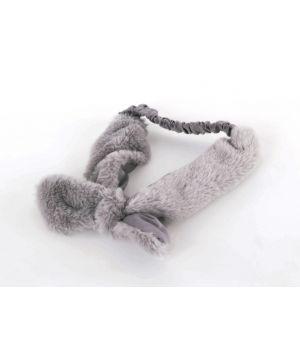 Lichtgrijze ultra zachte kunstbont haarband