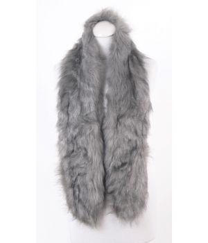 Gemêleerde grijze  kunstbont sjaal