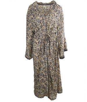 Lange ecru zijde-blend kimono met bloemenprint