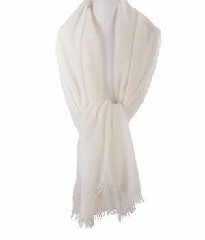 Ivoorkleurige stola/sjaal van 100% kasjmier
