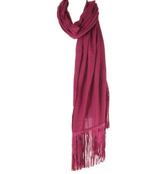 Fuchsia wol-zijden sjaal met suède franjes
