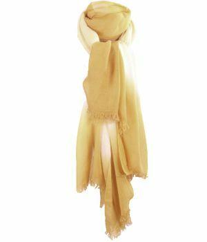 Luchtige sjaal met kleurverloop in okergeel