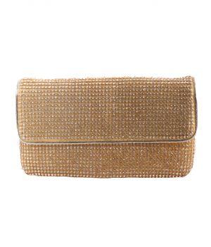 Goudkleurige clutch met strass-steentjes