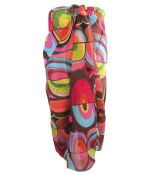 Bruine sarong met kleurrijke grafische print