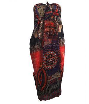 Sarong met mixed design in paars en koraalroze