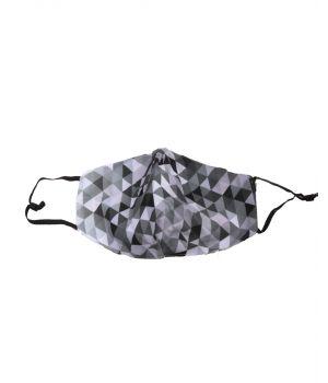 Katoenen verstelbaar mondkapje met grafische print in zwart-grijs