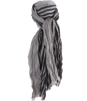 Gecrushte sjaal met strepen in lichtgrijs en zwart