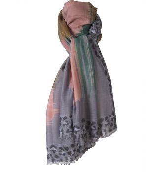Grijze sjaal met panterprint en grafisch design