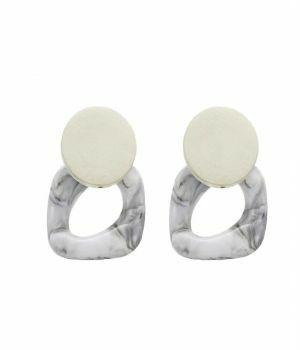 Vintage stijl oorbellen in grijs en wit